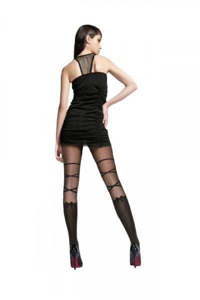 Ciorap pantalon de dama cu model de dunga si fundita, de 40 den