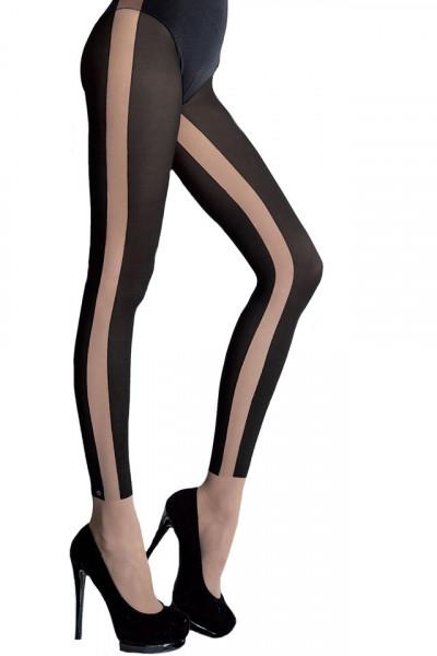 Ciorap pantalon, model de dunga lata pe lateral, de nuanta natural