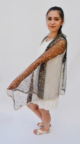 Esarfa casual-eleganta din material deosebit de culoare negru,argintiu,bleumarin