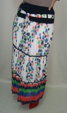 Fusta moderna, lejera, lunga de primavara-vara, colorata, alb, roz