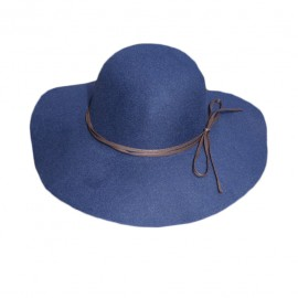 Palarie simpla cu bor lat, culoare bleumarin, design de snur maro