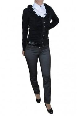 Poze Pantalon cu design dungat, nuanta de gri, inchidere cu fermoar