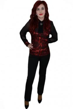 Poze Pantalon fin, de culoare neagra, design rafinat de nasturi aplicati