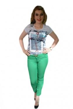 Poze Pantalon lung de vara, model trendy in culoare verde deschis