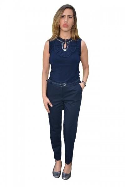 Poze Pantalon office Medeline cu croi drept,nuanta de albastru