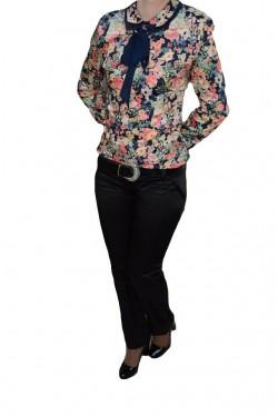 Poze Pantalon trendy din saten, design clasic, de nuanta neagra
