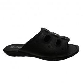 Poze Papuc modern, din piele naturala, neagra, cu talpa joasa