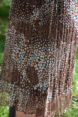 Rochie casual de vara, material cu aspect de voal nuanta maro