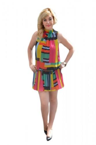 Poze Rochie casual, feminina din voal fronsat, multicolor