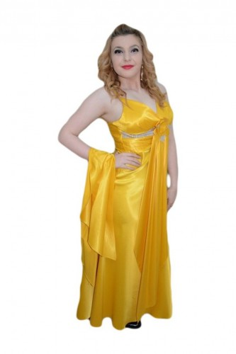 Poze Rochie chic lunga, de culoare galbena, cu decolteu in V