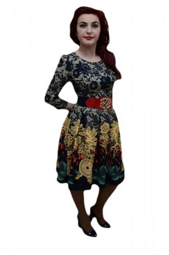 Poze Rochie dama deosebita, nuanta de multicolor, curea aplicata