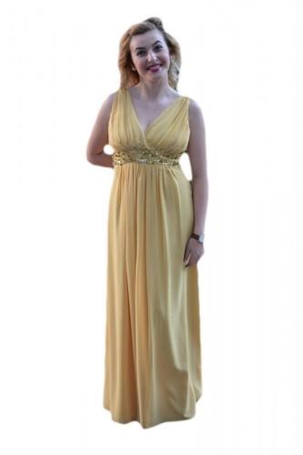 Rochie de seara lunga, feminina, galbena cu paiete aurii