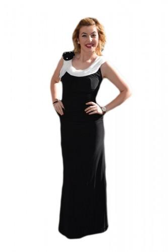 Poze Rochie de seara lunga, neagra, eleganta, cu insertii albe pentru design