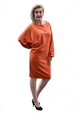 Poze Rochie de zi, cu maneci lungi stramte la incheieturi, portocalie