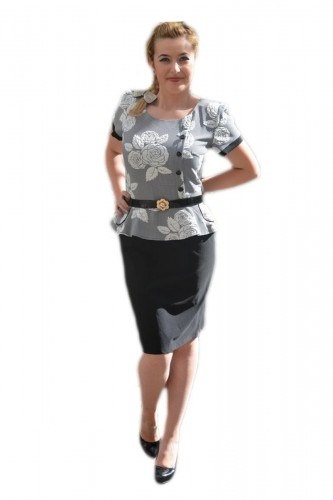 Poze Rochie eleganta de culoare negru-gri model cu peplum