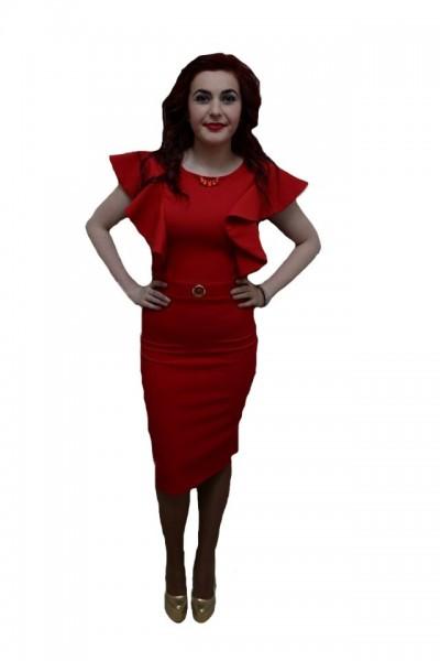 Poze Rochie eleganta, de culoare rosie, detalii trendy aplicate