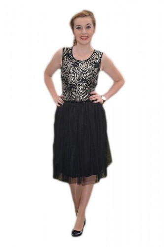 Rochie eleganta din tul negru in partea de jos si dantela aurie