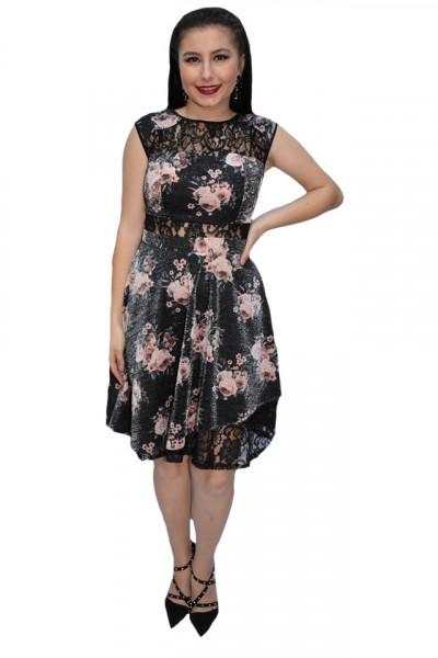 Poze Rochie eleganta Lotte cu dantela si imprimeu floral,nuanta de negru