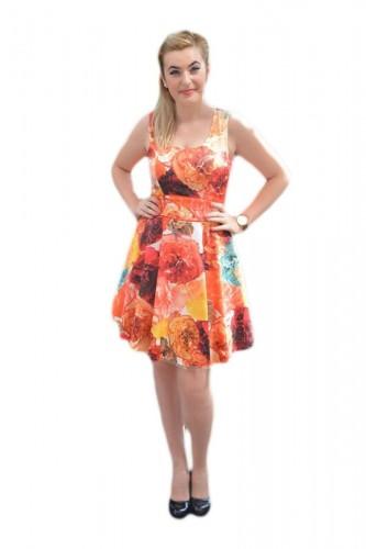 Poze Rochie eleganta, multicolora, cu imprimeu floral foarte realist