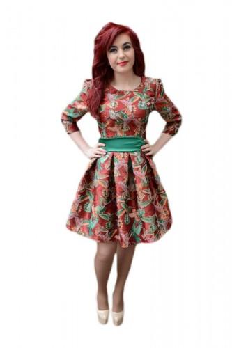 Poze Rochie fashion, de culoare marsala, imprimeu modern cu pasari