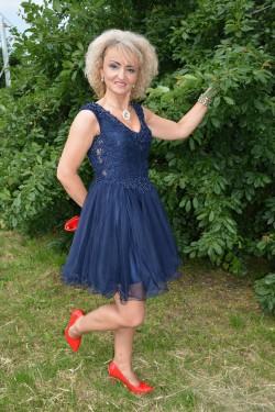 Rochie fashion de seara, tul cu insertii de dantela nuanta bleumarin