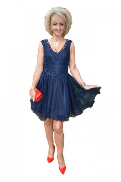 Poze Rochie fashion de seara, tul cu insertii de dantela nuanta bleumarin