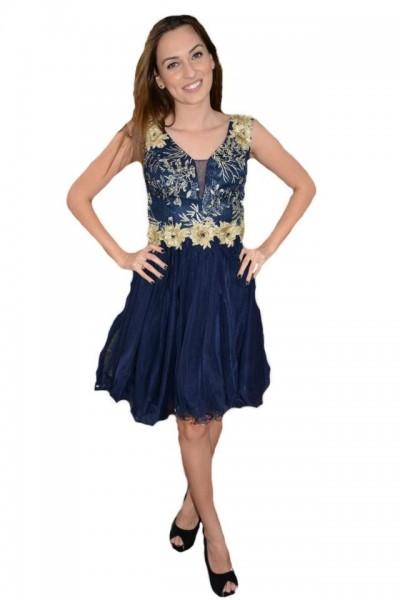 Poze Rochie fashion din tul nuanta bleumarin cu broderie aurie