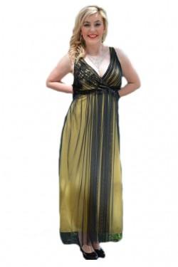 Rochie feminina ,de culoare galbena cu tul negru