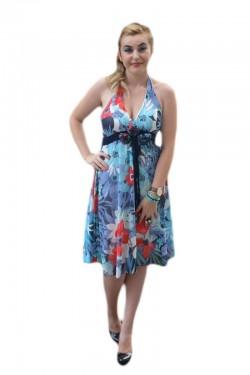 Poze Rochie feminina, in culori de vara, prevazuta cu un V in fata