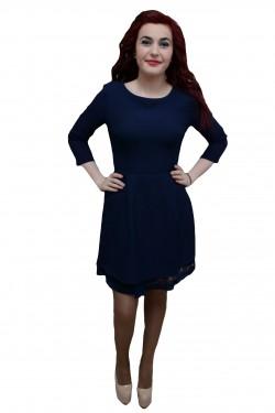 Poze Rochie la moda, nuanta de bleumarin, croiala evazata