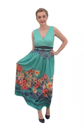 Rochie maxi, de vara, multicolora cu imprimeu floral