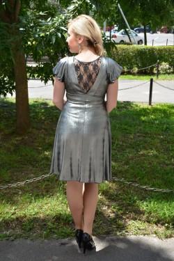 Rochie scurta de ocazie de culoare argintie