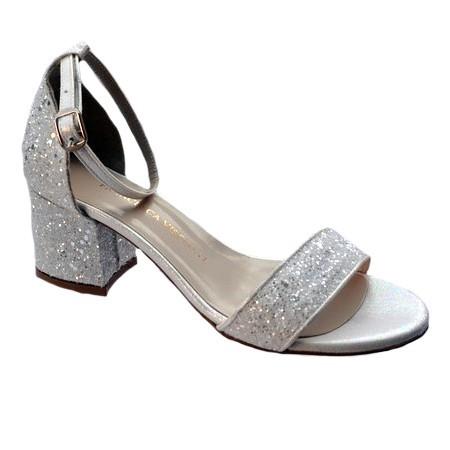 Poze Sandale modernda LaDonna cu toc mediu,gros,cu sclipici,nuanta de alb