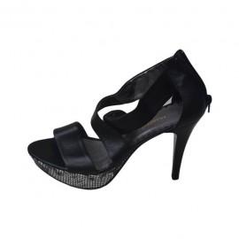 Sandale negre, elegante, cu barete incrucisate, din piele naturala
