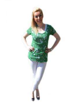 Poze Tricou verde inchis din material tip plasa cu top alb dedesubt
