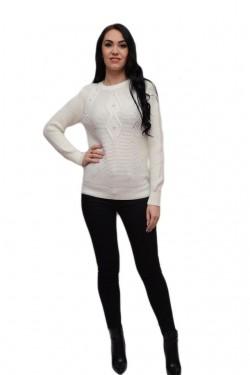 Bluza calduroasa din tricot alb cu design de margele aplicate