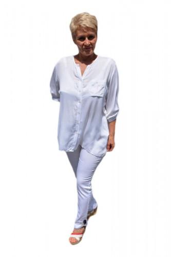 Poze Bluza casual , alba cu nasturi si design de buzunare paietate