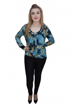 Poze Bluza comoda de zi, nuanta de albastru, imprimeu fashion
