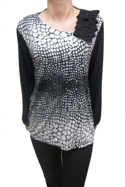 Poze Bluza de ocazie neagra cu imprimeu alb cu aspect lucios