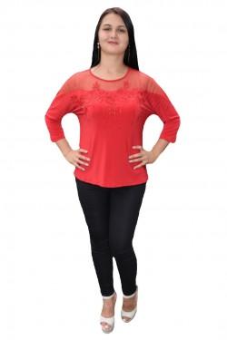 Poze Bluza deosebita cu insertie de dantela si strasuri, nuanta rosie