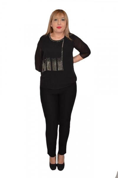 Poze Bluza eleganta  Hanna din voal cu aplicatii de strasuri ,nuanta de negru