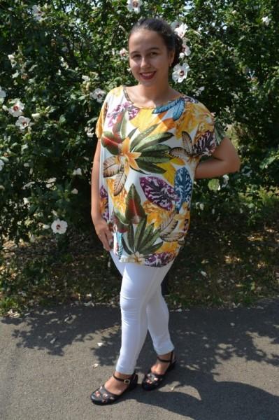 Bluza Lucia cu imprimeu exotic leaf pe fond alb
