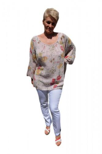 Poze Bluza moderna de vara , cu imprimeu floral, nuanta de pudra