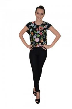 Poze Bluza neagra cu talie scurta si design de flori colorate