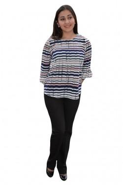 Poze Bluza overside cu imprimeu de dungi multicolore, masuri mari