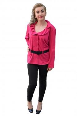 Poze Bluza tip camasa de toamna-iarna, culoare roz, cu maneca lunga
