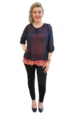 Poze Bluze de ocazie, culoare bleumarin-corai, lejera corp