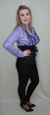 Camasa eleganta, de birou, culoare mov, tip corset mulat pe corp