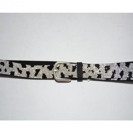 Curea argintie rafinata, decorata cu insertii de cristale fine