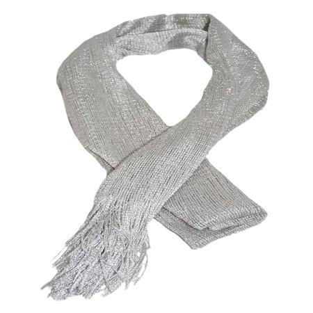 Esarfa casual de culoare negru-argintiu
